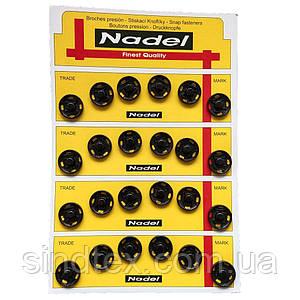 D=15мм пришивні застібки-кнопки для одягу Sindtex 24шт металеві колір чорний (653-Т-0059)