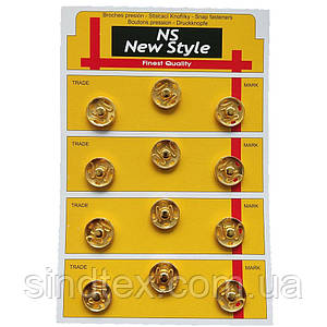 D=17мм пришивні застібки-кнопки для одягу Sindtex 12шт металеві колір золотий (653-Т-0270)