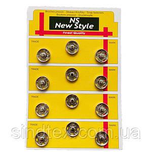 D=17мм пришивні застібки-кнопки для одягу Sindtex 12шт металеві колір сірий (653-Т-0274)