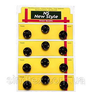 D=17мм пришивні застібки-кнопки для одягу Sindtex 12шт металеві колір чорний (653-Т-0075)