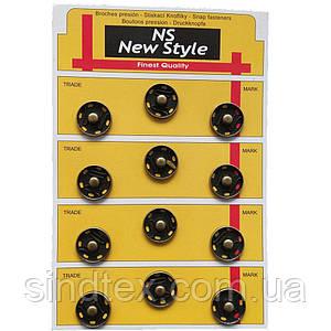 D=19мм пришивні застібки-кнопки для одягу Sindtex 12шт металеві колір антік (653-Т-0056)