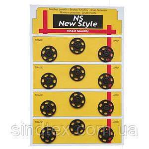 D=21мм пришивные кнопки для одежды Sindtex 12шт пластиковые цвет черный (653-Т-0044)