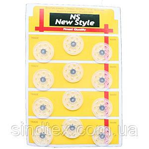 D=25мм пришивные кнопки для одежды Sindtex 12шт пластиковые цвет прозрачный (653-Т-0698)
