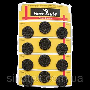 D=25мм пришивные кнопки для одежды Sindtex 12шт пластиковые цвет черный (653-Т-0033)