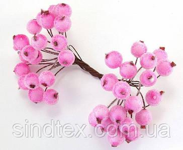 (Пучок) Калина цукрові для рукоділля Ø12мм, 40 ягідок (20 двосторонніх зволікань) Колір - Рожевий