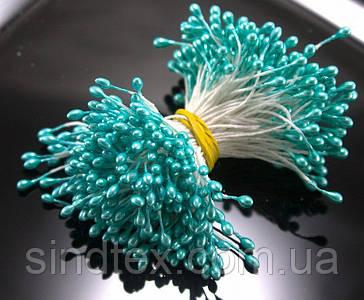 Тычинки глянцевые 3400шт (1700 двухстор. ниток) 3х5мм головка, Бирюзовые тычинки (сп7нг-6031)