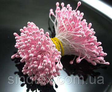 Тычинки глянцевые 3400шт (1700 двухстор. ниток) 3х5мм головка, Нежно-розовые тычинки (сп7нг-6035)