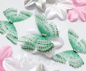 Бабочка из шифона, двухслойные шифоновые бабочки 46х36мм (сп7нг-6873)