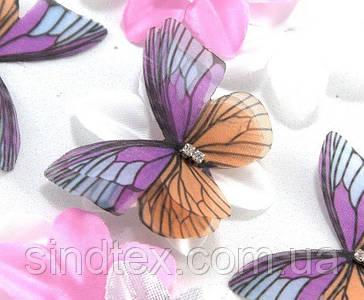 Бабочка из шифона, двухслойные шифоновые бабочки 45х37мм (сп7нг-6859)