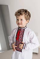 Вышиванка для мальчика с красно-черным геометрическим орнаментом