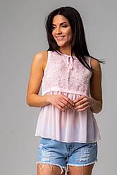 Летняя нежная блуза в розовом, голубом, синем и белом цвете в размерах S/M, L/XL.