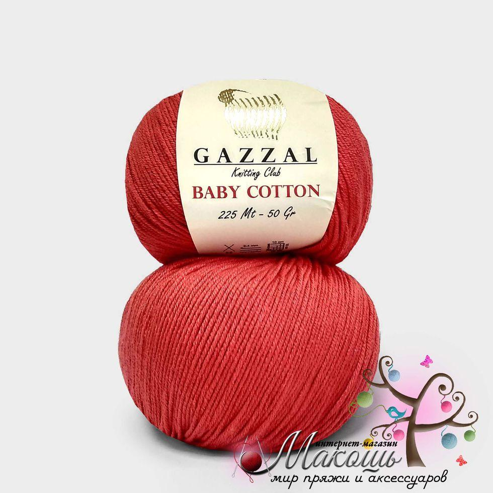 Пряжа Baby cotton Gazzal (Бэби коттон Газал), 3418, коралл