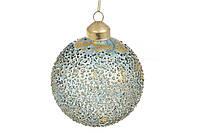Елочный шар из прозрачного стекла с покрытием лёд и золотой фольгой, 8см, цвет - тёмная бирюза;