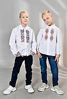 Рубашка вышиванка мальчику с воротником р. 122-158 от 6 до 14 лет