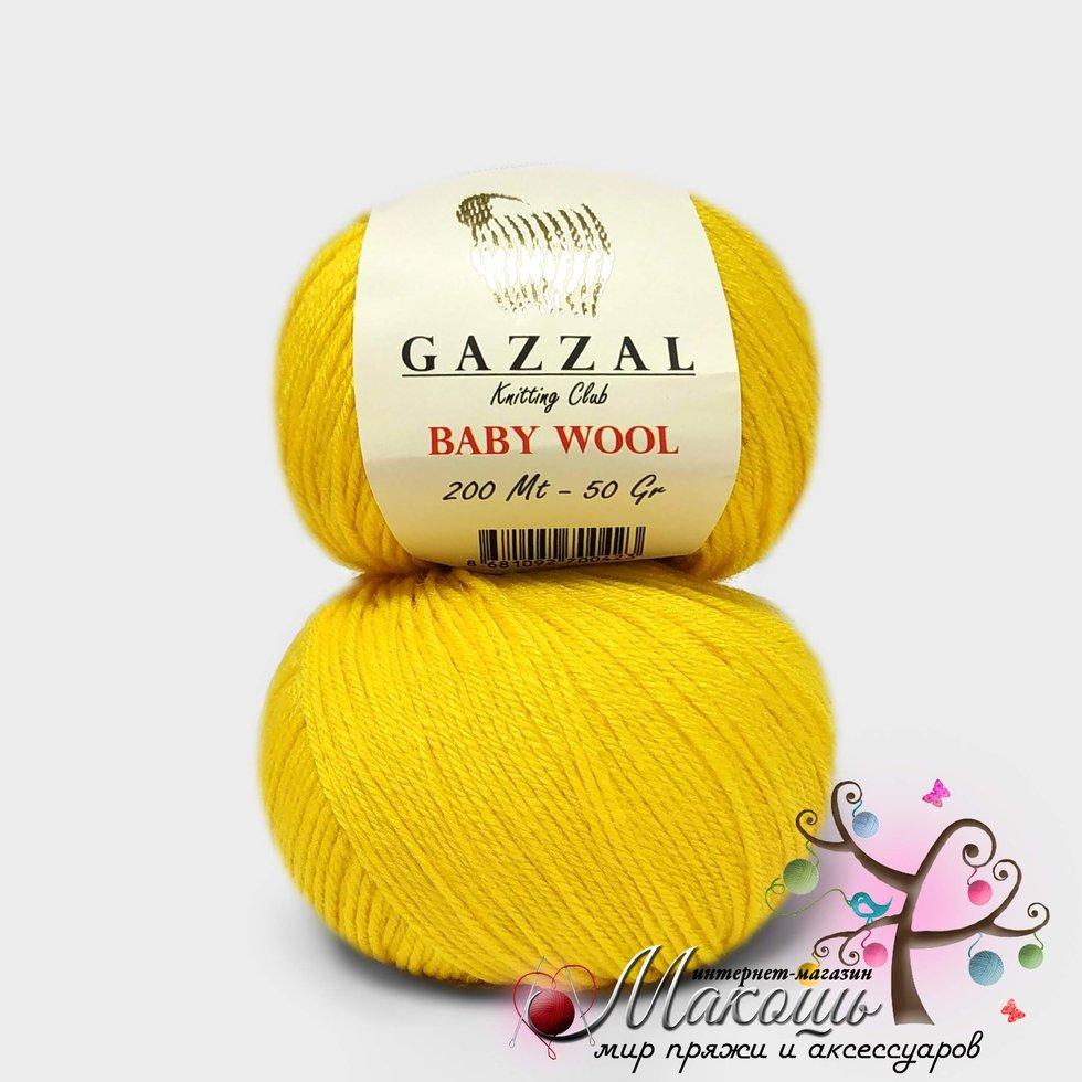 Пряжа Бэби вул Baby Wool Gazzal, №812, желтый