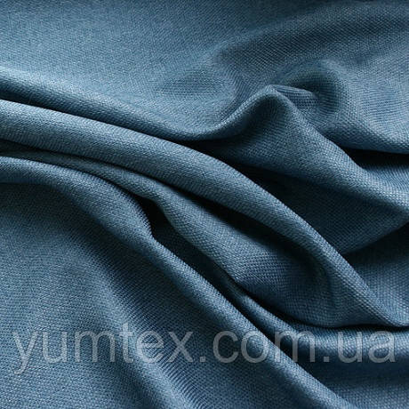Портьерная ткань рогожка Брук (под лён), цвет т. синий