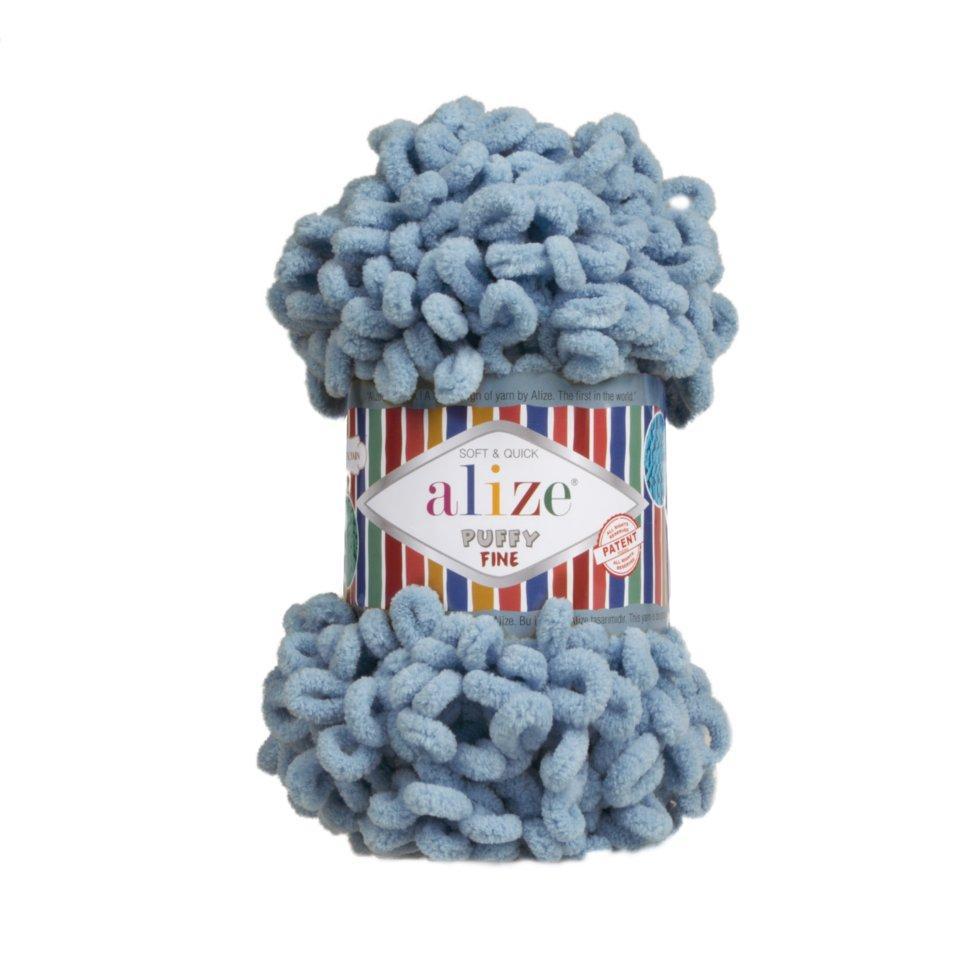 Пряжа Пуффи файн Puffy fine Alize, №280, сутінково синій