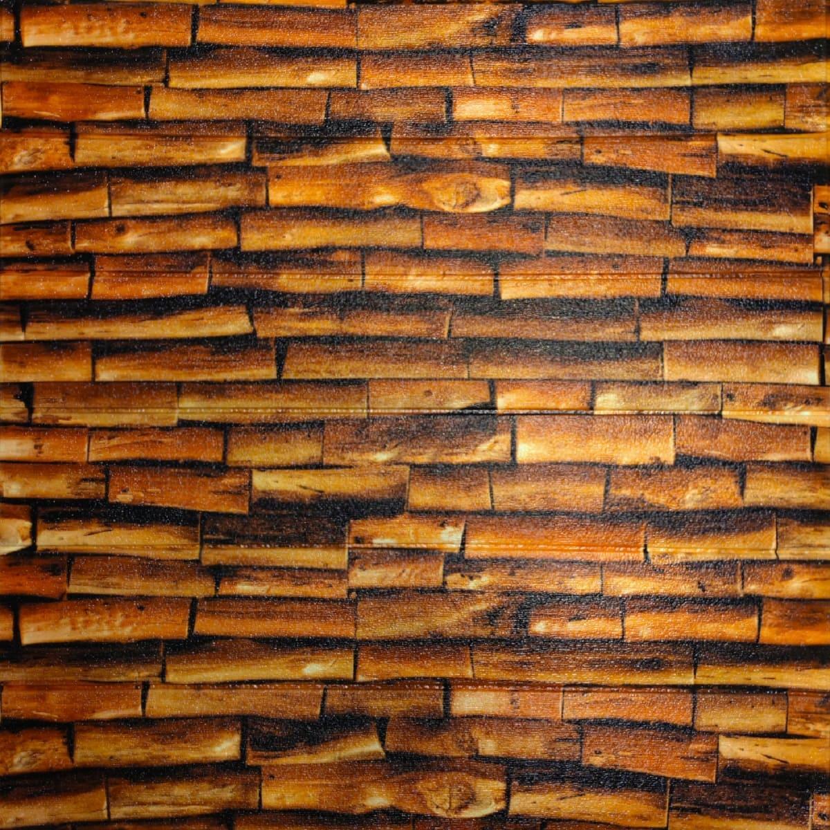 Самоклеюча декоративна 3D панель під дерево Вогняне 700х700х5мм