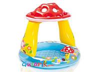 Детский надувной бассейн Грибочек с навесом 57114