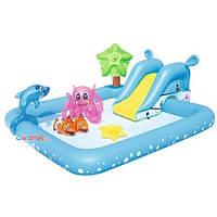 Бассейн детский надувной с горкой морские жители 53052