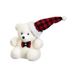 """Декор """"Білий ведмедик в ковпачку"""""""