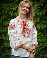 """Жіноча вишиванка з візерунком """"Полуботок"""" (з жовто-червоною вишивкою)"""