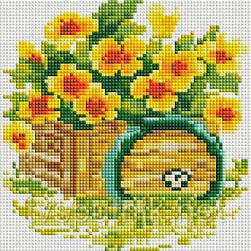 """Мозаичная картина """"Настурция"""" (Код:316-ST-S)"""
