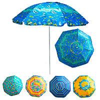 """Зонт пляжный антиветер """"Stenson - синий Водный мир"""" 1,8м, зонт пляжный усиленный с серебряным покрытием (GIPS)"""