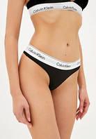 Женские стринги Calvin Klein Steel 3 штуки хлопок в подарочной упаковке Келвин Кляйн трусики для девушек