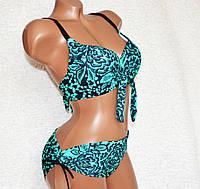 50, 52 размер, красивый черный раздельный женский купальник, бюстик формовая чашка с узором в стразах.