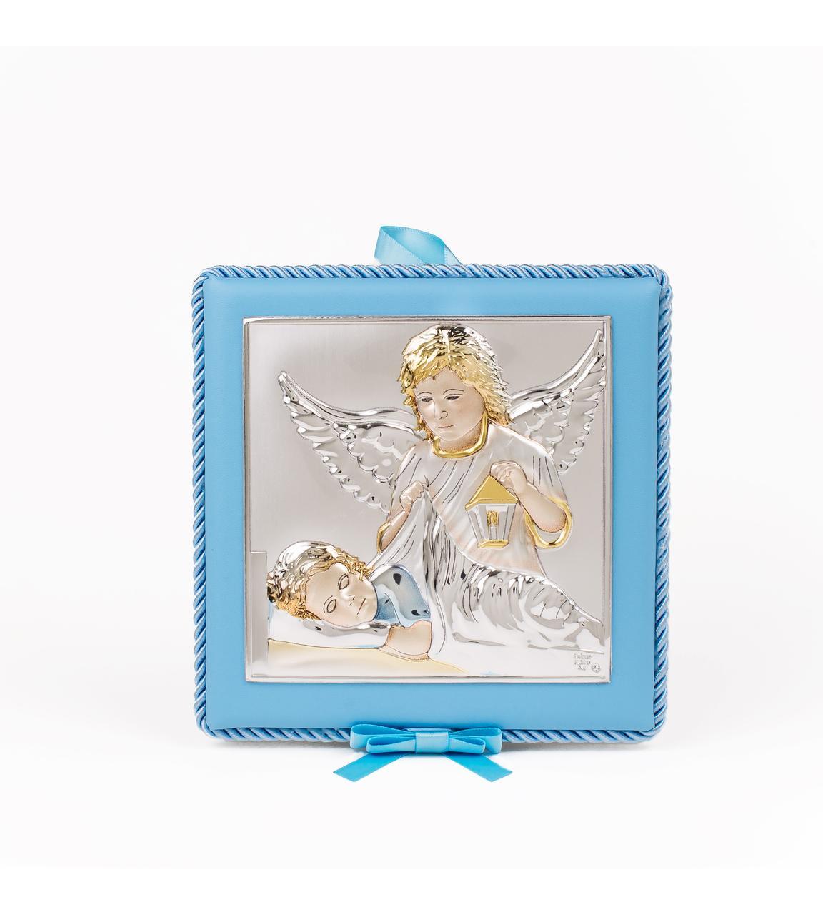 Срібна дитяча іконка Ангел Хранитель 14х14 см на синій подушечці з музикою покритий емаллю
