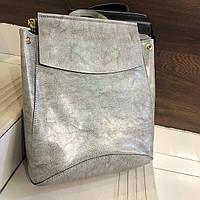 Рюкзак женский кожаный серый Тренд 2021 Сумка-рюкзак кожаная Сумки трансформеры женские светлые модные