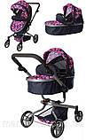 Іграшкова коляска для ляльок з двома положеннями спинки (сидячи, лежачи) і регулюванням ручки 9695 (3 кольори), фото 7