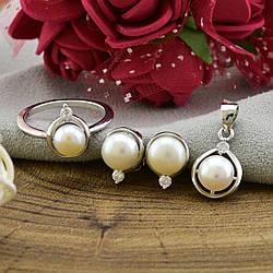 Серебряный набор кольцо + серьги 10х8 мм + кулон 19х10 вставка искусственный жемчуг размер 16
