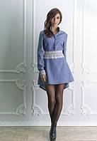Джинсовое платье, синие платье, короткое, с гипюром