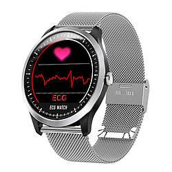 Умные часы Lemfo N58 Metal с измерением давления и ЭКГ Серебристый ES, КОД: 2455639