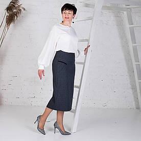 Женская юбка больших размеров Есения серая
