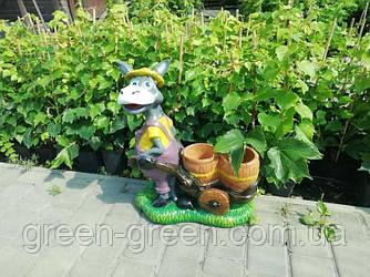 Ослик с тележкой, садовый декор, полимербетон