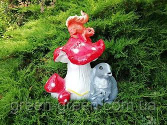 Гриб с крольчихой и белкой, садовый декор, полимербетон