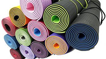 Коврик для йоги и фитнеса EasyFit TPE+TC 6 мм двухслойный