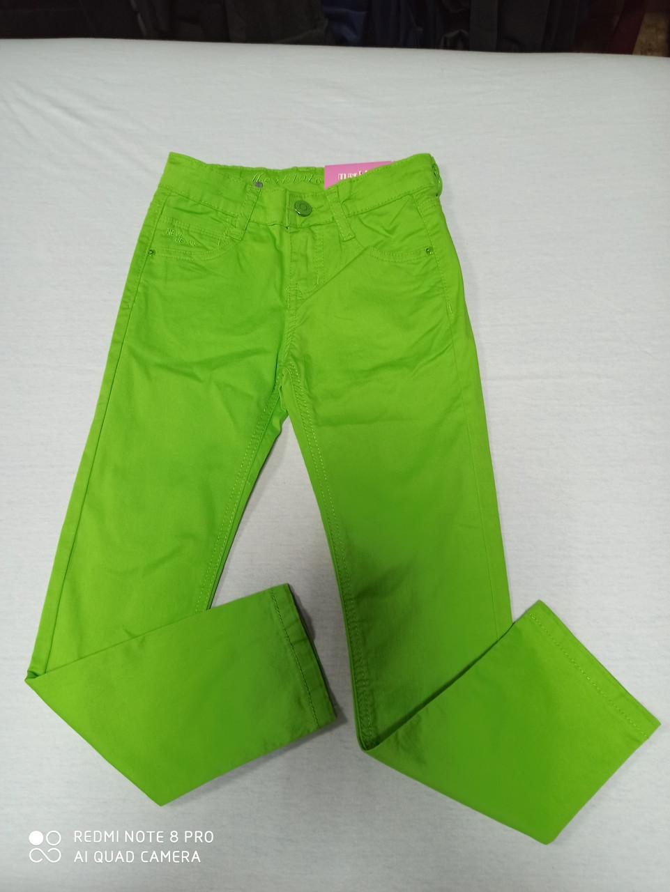 Штаны стрейчевые яркие с карманами для девочки. Размеры 116.122.128.134.140.146 рост.
