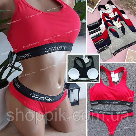 Женский комплект нижнего белья топ и стринги   Красное женское белье, фото 2