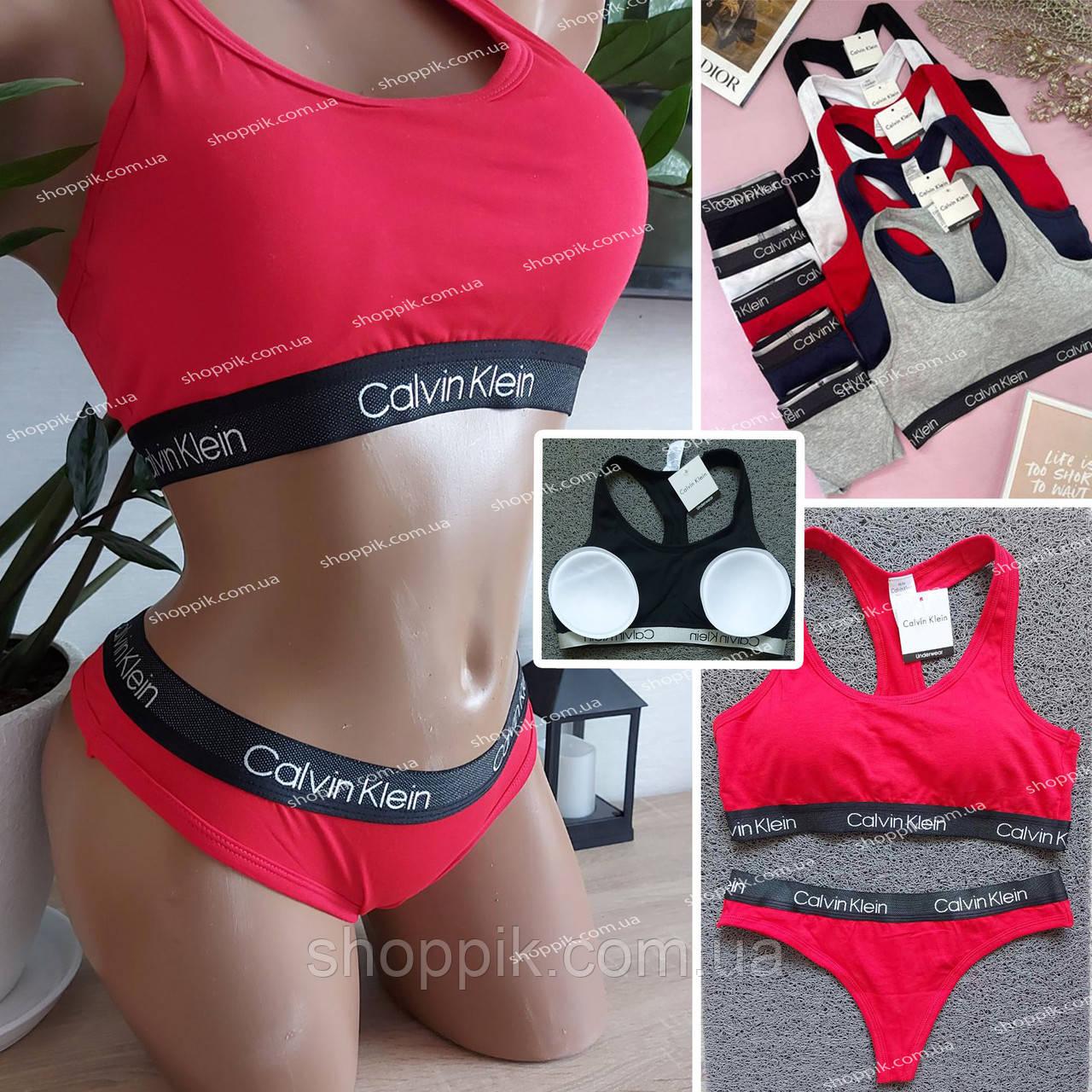 Женский комплект нижнего белья топ и стринги   Красное женское белье