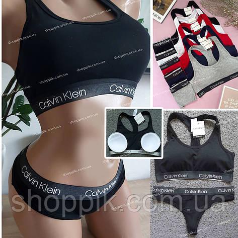 Женский комплект нижнего белья топ и стринги   Черное женское белье, фото 2