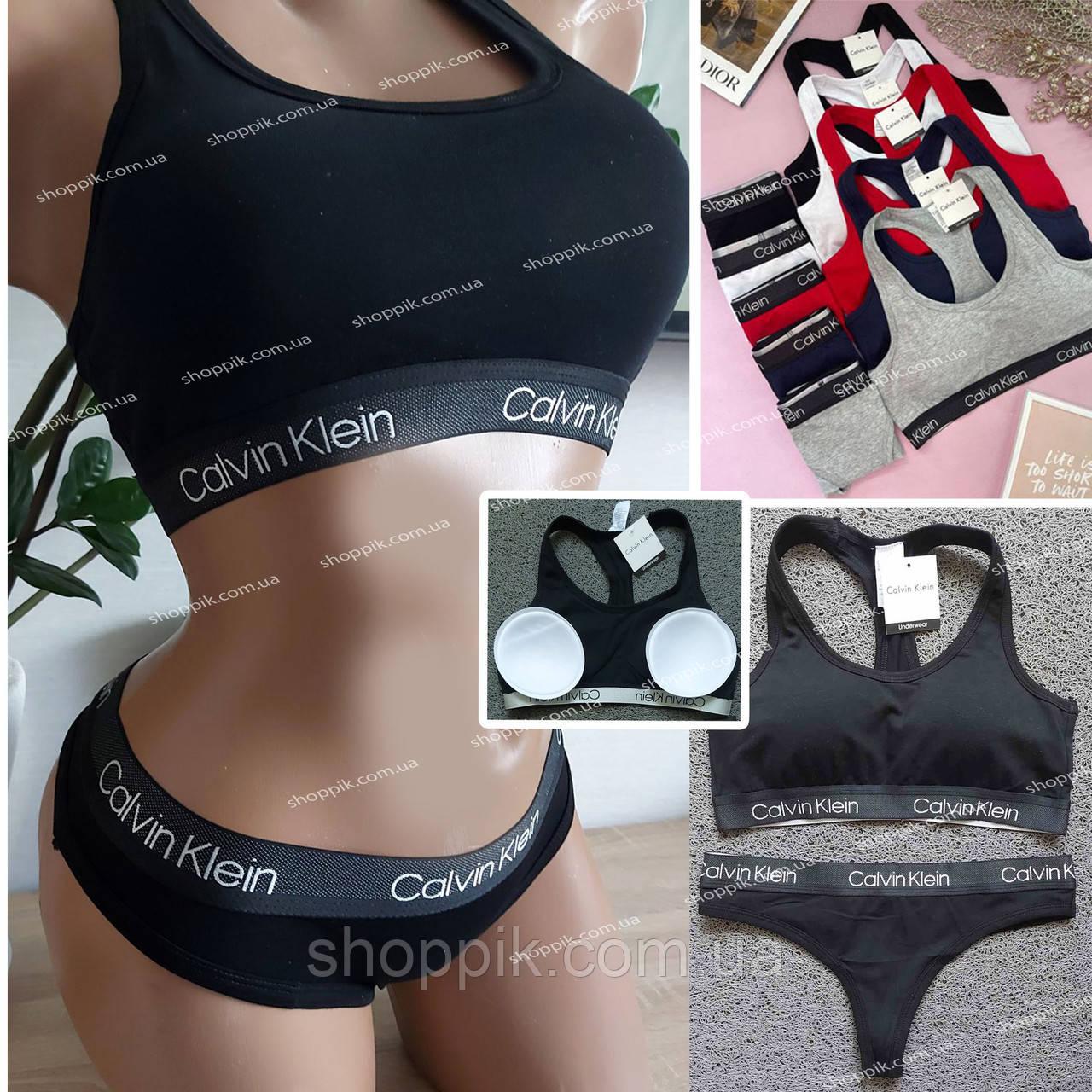 Женский комплект нижнего белья топ и стринги   Черное женское белье