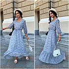 Платье летнее nobilitas 42 - 52 черное с синим шифон (арт. 21031), фото 3