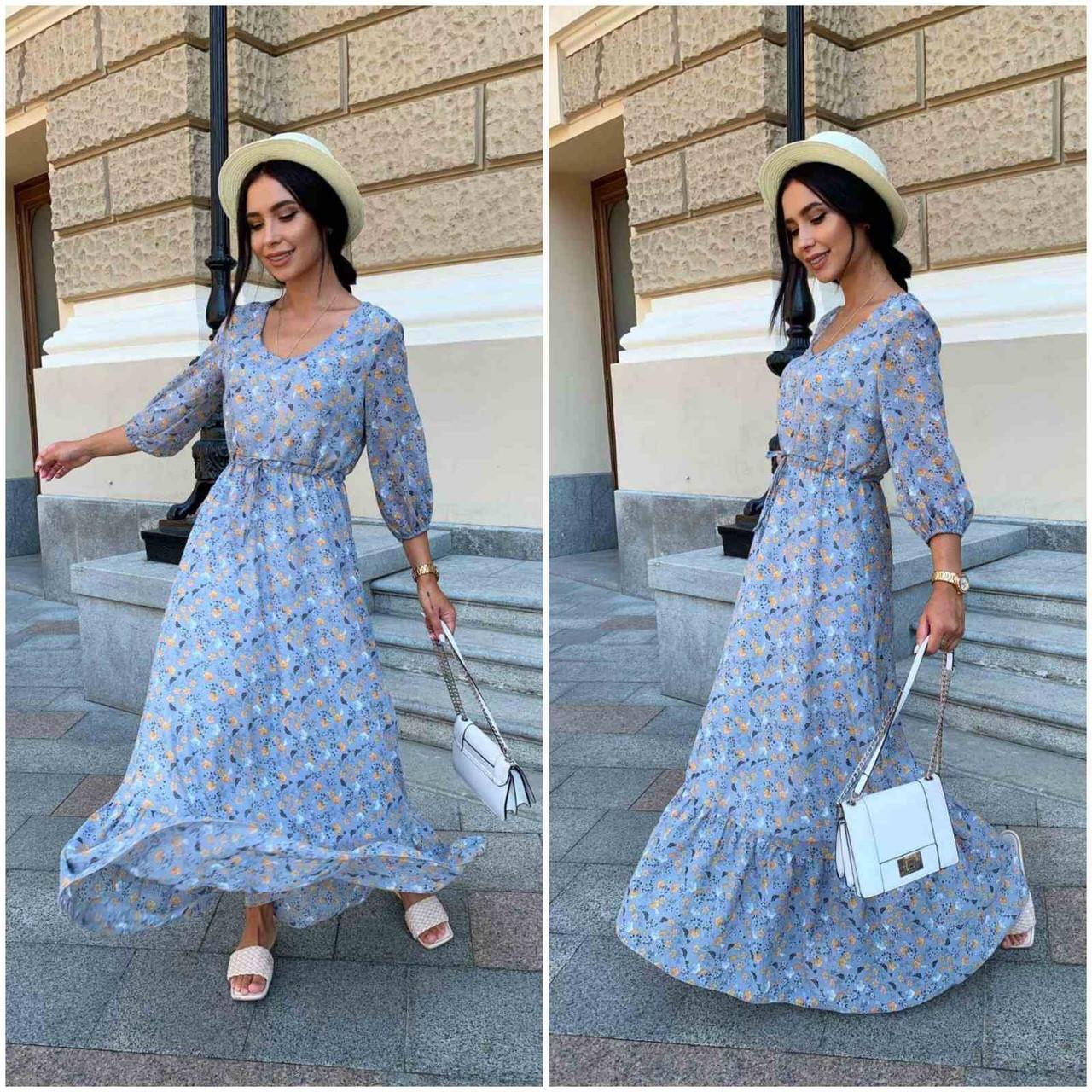 Платье летнее nobilitas 42 - 52 голубое шифон (арт. 21031)