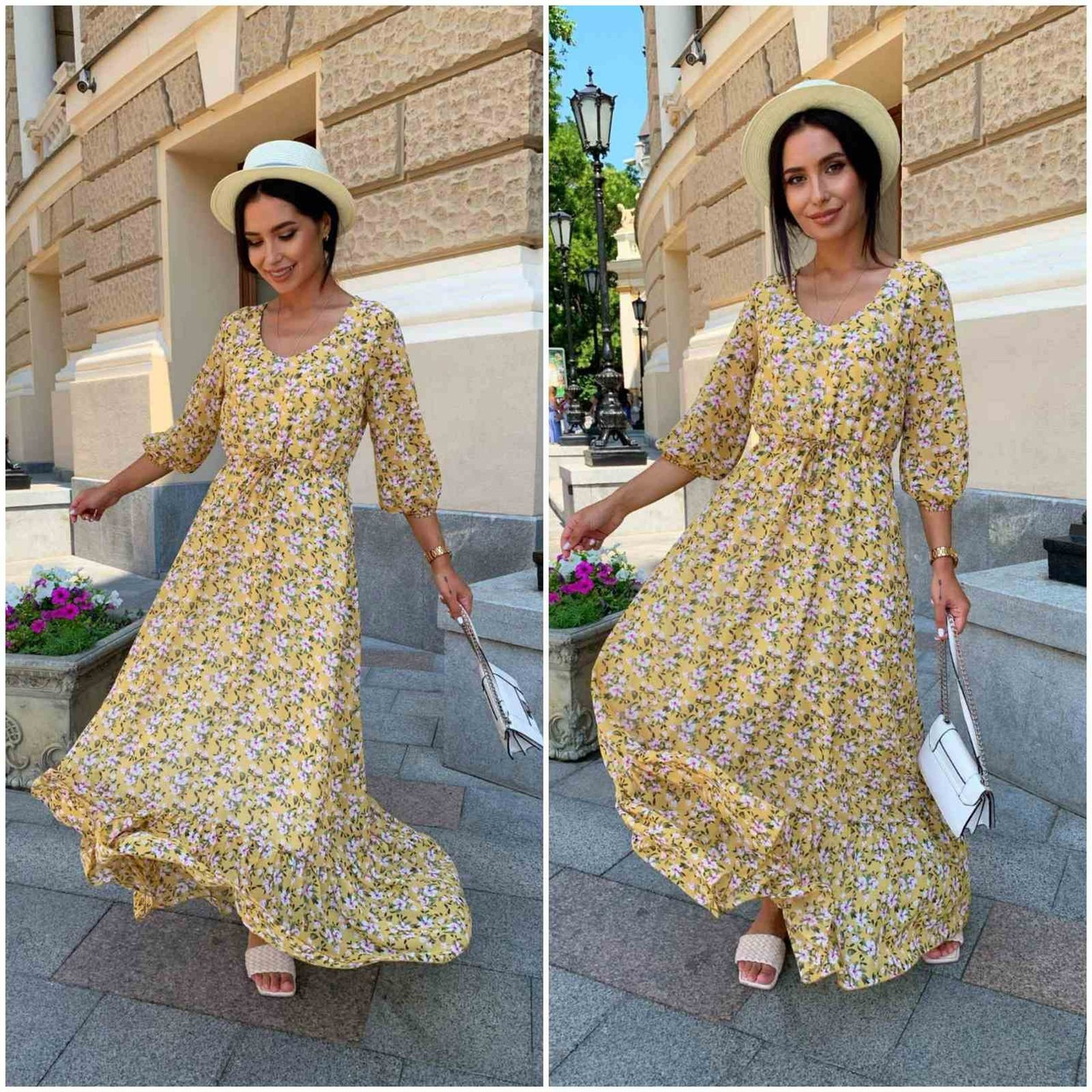 Платье летнее nobilitas 42 - 52 желтое шифон (арт. 21031)