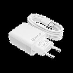 Швидке зарядний пристрій LP AC-009 USB 5V 3А Quick Charge + кабель Type-C/OEM 1 м White