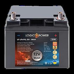 Аккумулятор для автомобиля литиевый LP LiFePO4 12V - 90 Ah (+ справа, обратная полярность) пластик